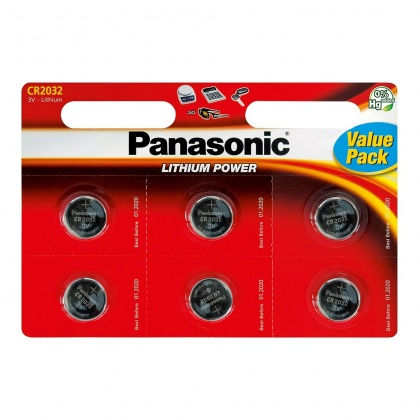 Panasonic CR2032 Lithium battery, six-pack