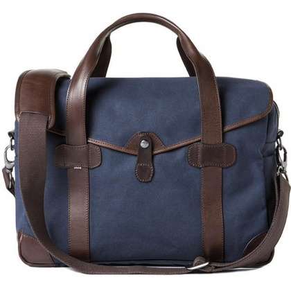Barber Shop Bob Cut Medium Messenger Bag Blue Canvas & Dark Brown Leather