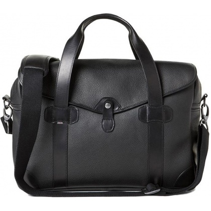 Barber Shop Bob Cut Medium Messenger Bag Grained Black Leather