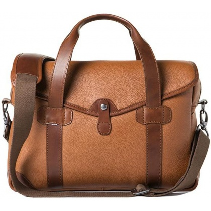 Barber Shop Bob Cut Medium Messenger Bag Grained Brown Leather