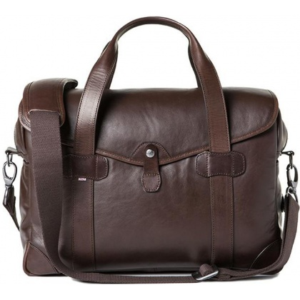 Barber Shop Bob Cut Medium Messenger Bag Dark Brown Leather