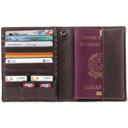Barber Shop Fringe Passport Holder Dark Brown Leather