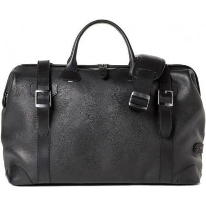 Barber Shop Quiff Doctor Bag Grained Black Leather