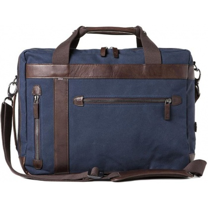 Barber Shop Undercut Convertible Bag Blue Canvas & Dark Brown Leather