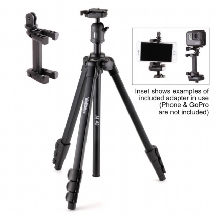 Velbon M43 Tripod with Ball head and Gopro/Smartphone adapter