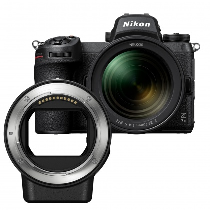 Nikon Z 7II with 24-70 f4 S lens and FTZ mount adapter