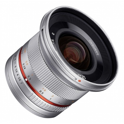 Samyang 12mm f2.0 Wide angle lens for Fuji X, Silver