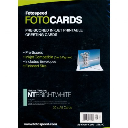 Fotospeed Natural Textured Bright White 315gsm, Pre-Scored Cards, A5 x 20