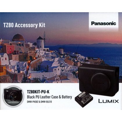 Panasonic TZ80 black PU leather case and battery