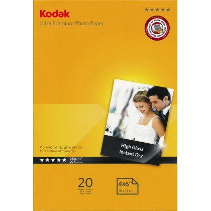 Kodak Gloss Ultra Premium Photo Paper, 280gsm, 4x6in -20 sheets