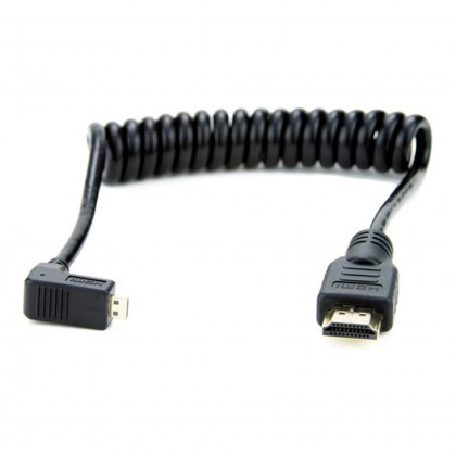 Atomos Coiled right-angle micro HDMI to full HDMI cable (30-45cm)
