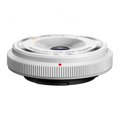 Olympus Body Cap Lens 9mm F8 fisheye, white