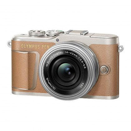 Olympus PEN E-PL9 Camera with 14-42 EZ lens, brown