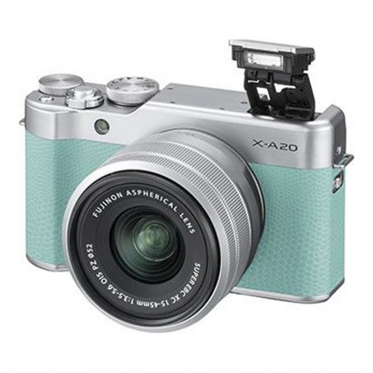 Fujifilm X-A20 (Mint Green) with Silver XC 15-45 lens
