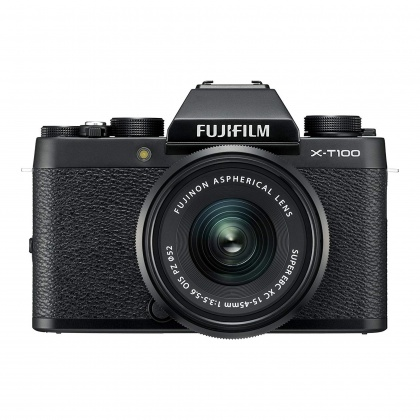 Fujifilm X-T100 Black with Black XC15-45mm lens