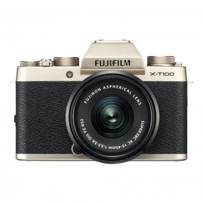Fujifilm X-T100 Champagne Gold with Black XC15-45mm lens