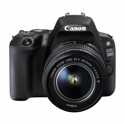 Canon EOS 200D, 18-55mm III, black with 16gb card and cloth