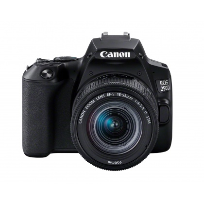 Canon EOS 250D, black with 18-55mm IS STM lens