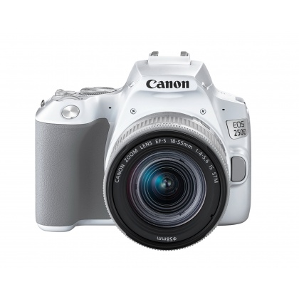 Canon EOS 250D, white with silver 18-55mm IS STM lens