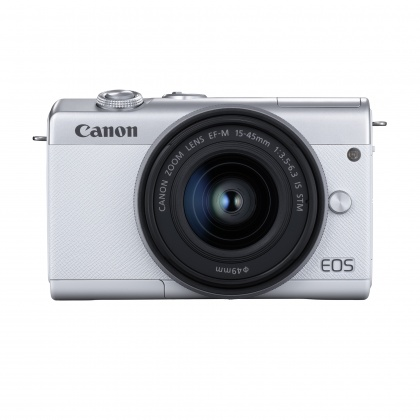 Canon EOS M200 Camera with 15-45mm lens, White/Silver