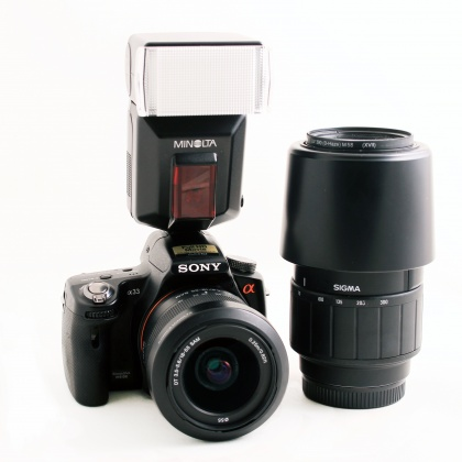 Used Sony Alpha 33, 18-55, Sigma 75-300 and Flash
