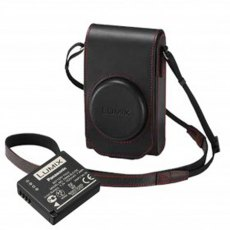 Panasonic TZ100 black leather case with red stitching and battery