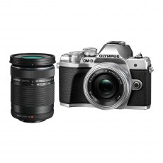 Olympus OM-D E-M10 Mark III Silver Camera with 14-42mm EZ, silver and 40-150mm lens, black
