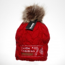 Castle Red Beanie Hat with Pom-Pom