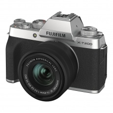 Fujifilm X-T200 Silver camera with black XC 15-45mm lens