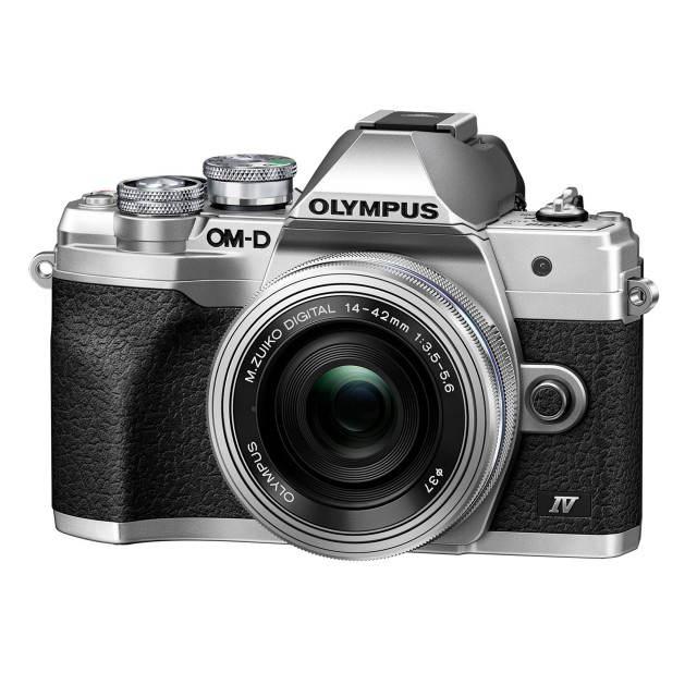 Olympus Olympus OM-D E-M10 Mark IV Mirrorless Camera, Silver with 14-42mm Lens