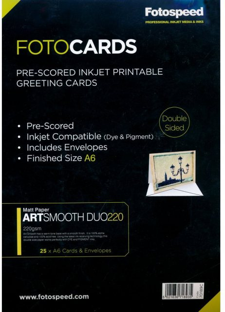 Fotospeed Fotospeed Art Smooth Duo 220gsm, Pre-Scored Cards, A6 x 25