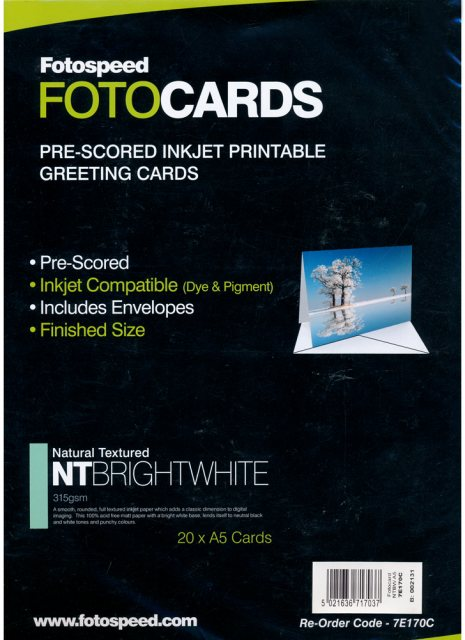 Fotospeed Fotospeed Natural Textured Bright White 315gsm, Pre-Scored Cards, A5 x 20