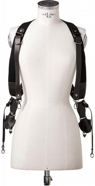 Barber Shop Barber Shop Sideburns Double Cross Body Bridle - Size L, Black Leather
