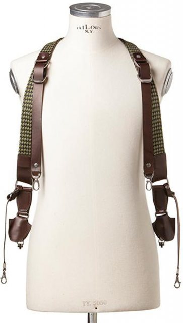 Barber Shop Barber Shop Sideburns Double Cross Body Bridle - Size L, Braided String & Dark Brown Leather