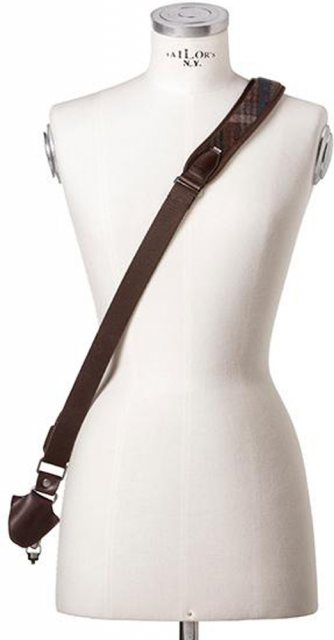 Barber Shop Barber Shop Full Beard Single Cross Body Bridle, Dark Brown Leather & Tweed