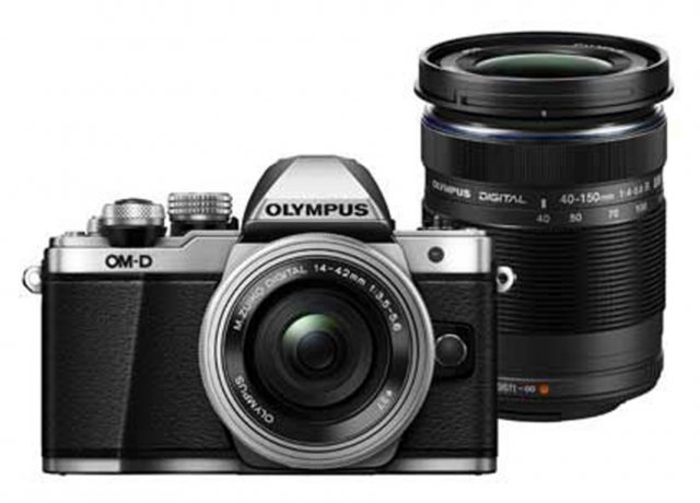 Olympus Olympus OM-D E-M10 Mark II Camera with 14-42mm EZ and 40-150mm lenses, silver