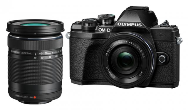 Olympus Olympus OM-D E-M10 Mark III Mirrorless Camera with 14-42mm EZ and 40-150mm lenses, black