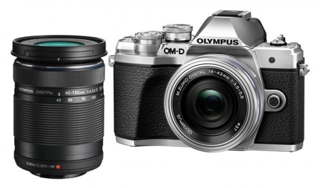 Olympus Olympus OM-D E-M10 Mark III Silver Camera with 14-42mm EZ, silver and 40-150mm lens, black
