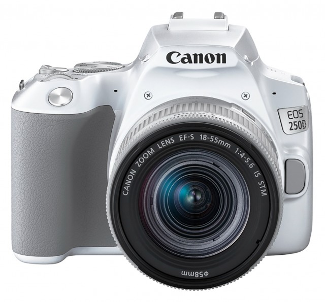 Canon Canon EOS 250D, white with silver 18-55mm IS STM lens